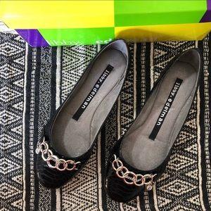 Libby. Edelman Amelie Black Ballet Flats Size 9